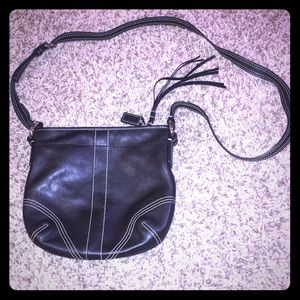 Black Coach Cross-Body Bag With Tassel